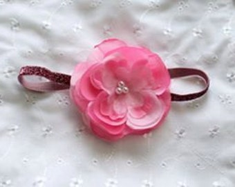 Pink Pearl Rose Flower Headband Photo Prop