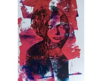 Fine art print of a linoleum print