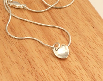 Sterling silver small domed heart necklace