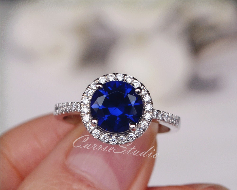 Silver lab blue sapphire ring sapphire engagement ring for Sapphire wedding ring