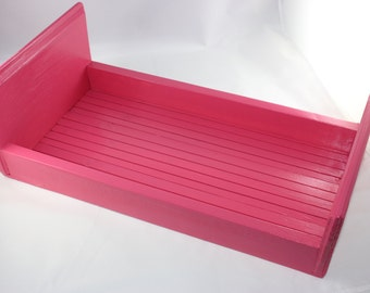 Doll Bed,18 inch Doll Bed,Pink Doll Bed,Doll Furniture,Wood Doll Bed,Hand Made Doll Bed,American Made,Bed,Doll Bed with Mattress