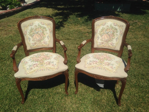Vintage victorian style accent arm chairs by