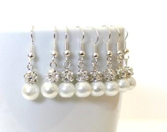 6 Pairs White Pearls Earrings, Set of 6 Bridesmaid Earrings, Pearl Drop Earrings, Swarovski Pearl Earrings, Pearls in Sterling Silver, 8 mm