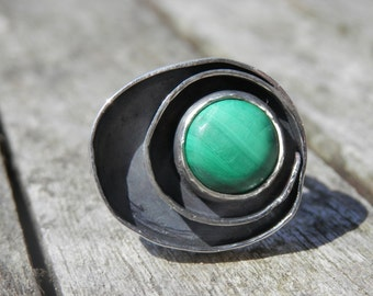 Moon Adjustable Ring Malachite, large ring, Patina, STERLING SILVER