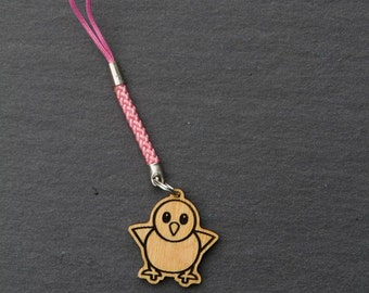 Front Facing Baby Chick Emoji charm - Wooden Yellow Baby Chicken Emoji Carved Wood charm