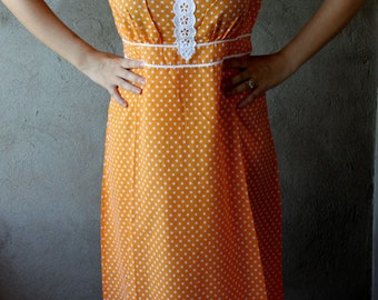 Vintage Hippie Nightgown Nightdress 1970s Orange