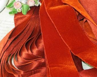"2"" RUST BURNT ORANGE ~ Vintage Swiss Velvet Ribbon Trim Victorian Color Ladies Millinery Hat Supply Trim Cocarde Work Vintage Silk"