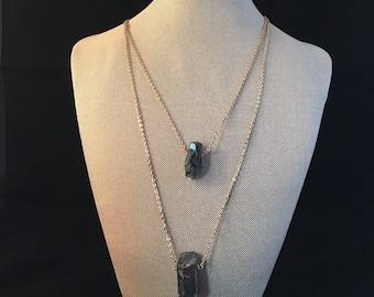 Hematite•Mattie•Gold Tiered Necklace