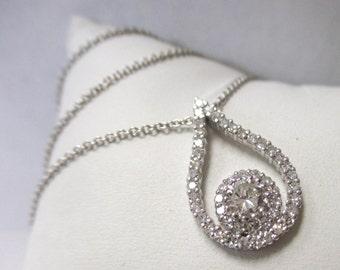 14K White Gold Teardrop Diamond Pendant