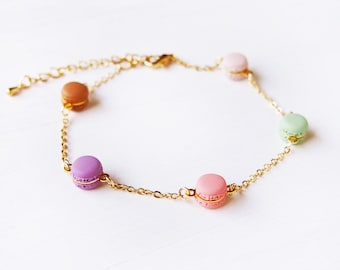 Elfi Handmade Cute Rainbow Mini Macaron Bracelet,  Miniature Dessert Food Jewelry, Wedding Gift, Christmas gifts , Kawaii, Inedible Food
