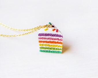 Elfi Handmade Cute Rainbow Cake Necklace, Miniature Food Jewelry Sprinkles Cake Charm, Dessert,Sliced Cake,Kawaii,perfect for Christmas gift