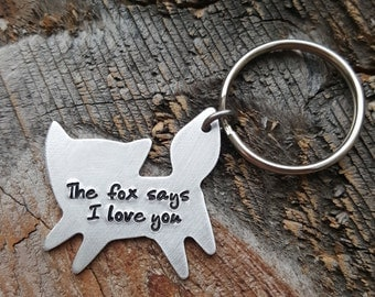 Hand Stamped Fox Keychain Fox Says I Love You OR I Miss You Keychain Gift Long Distance Relationship Gift Couples Gift Girlfriend Gift