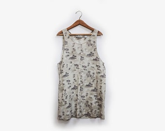 Cotton Linen Printed Dress with Pockets S