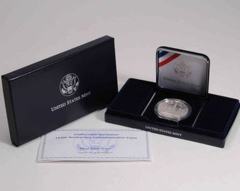 1996 Smithsonian proof silver dollar U.S. commemorative coin, U.S. Mint, United States coin
