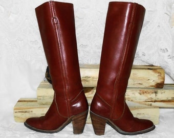 FREE SHIPPING! Womens Vintage Tall Brown Leather Knee High FRYE Boots Campus Boots Riding Boots Sz 5 B