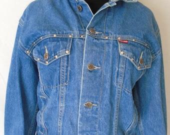 Awesome 70's Vintage Hippy Hipster Denim BON JOUR Studded Jean Jacket Coat / Womens Size Medium