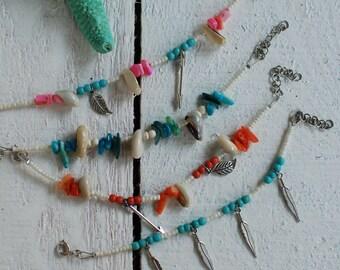 Feather Summer Bracelet,Beach Bracelet,Charm Bracelet,Turquoise Bracelet,Charm Bracelet,Shell Bracelet