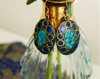 Royal Mosaic Blue Turquoise Earrings
