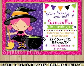 Halloween Birthday Invitation, Halloween Invitation, Witch Birthday Invitation, Witch Hallooween Birthday Invitation, Halloween Party