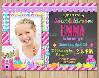 Candyland Birthday Invitation, Candyland Invitation, Sweet Shop Invitation, Candy Shop Invitation, Candy Invitation, Candyland Birthday
