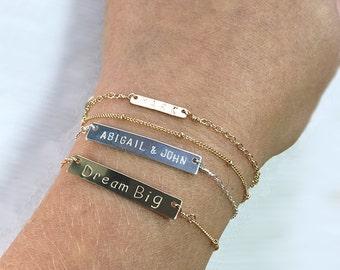SterlingSilver bar bracelet personalized, Name plate bracelet, Custom Bar bracelet, name bracelet,  id bracelet, christmas gifts for her