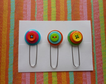 Button Paperclip Set, Neon Colors Set 3, Paperclip Bookmark, Button Bookmark