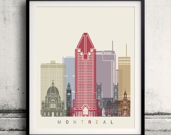 Montreal skyline poster - Fine Art Print Landmarks skyline Poster Gift Illustration Artistic Colorful Landmarks - SKU 2223