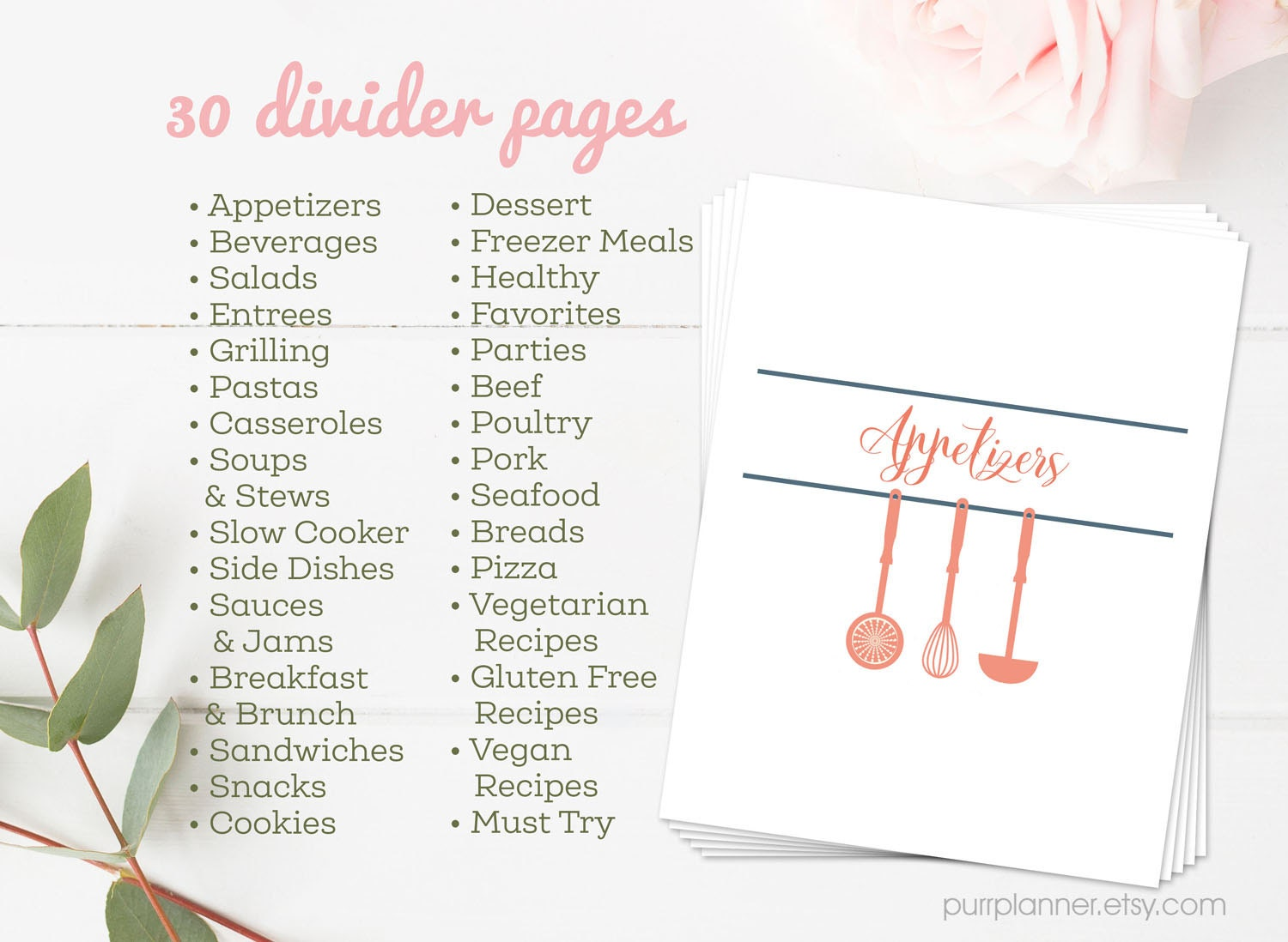Stylish Printable Recipe Book Coral And Navy Binder