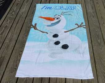 Personalized Olaf Beach Towels, Snowman Beach Towels, Towel Birthday Gift, Olaf Snowman Beach Towel With Name, Embroidered Personalized Gift