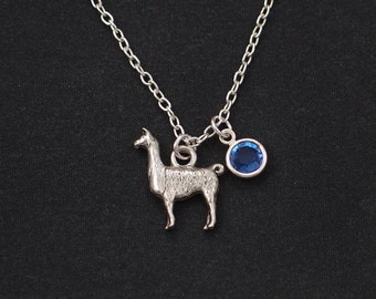 Llama necklace, sterling silver filled, birthstone necklace, silver llama charm, llama gift,Lama Glama, alpaca necklace, Christmas, birthday