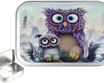 Cute Owl 1oz silver hinged tobacco tin,pill box,storage tin