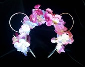 Floral headband with mouse ears in purples and pinks