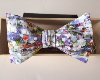 Luxury Men's Liberty of London Abstract Multi Colored Self Tie Bow tie