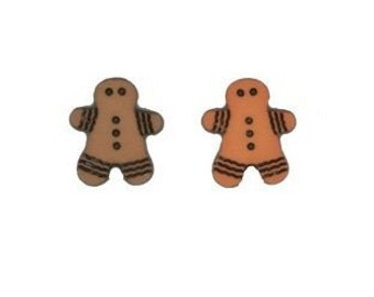 10 Gingerbread Man Shaped Childrens Buttons 15mm sewing craft buttons