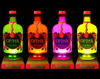 Opihr Gin Multicolour LED Bottle Lamp. Unique Gift, Gifts for Men, Bottle Light, Mood Lighting, Gin Gifts, LED Bottle. DiamondLiquorLights