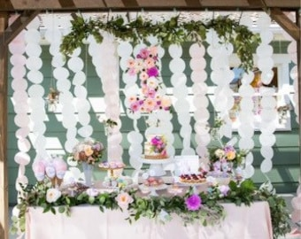 Paper Circle Garland Backdrop- Blush and White