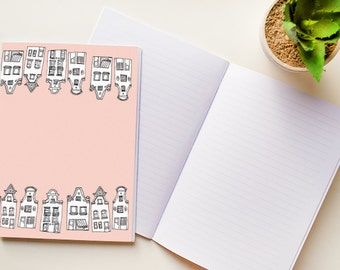 Set of 3 hand made A5 or A6 notebooks with 80 pages stationery house pattern Amsterdam dutch canal houses journal diary notepad papergoods