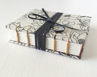 Beautiful Black and White One-of-a-kind Floral Book, Sketchbook, Journal, Notebook