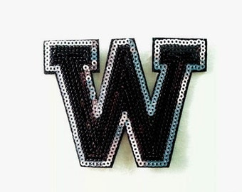 Alphabet Letter W Iron on Patch - Black Sequin W, Glitter Applique Embroidered Iron on Patch - Size 9.5x7.3 cm#T1