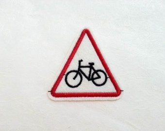 Bicycle Sign Iron on Patch(M2) - Bicycle Sign  Applique Embroidered Iron on Patch-Size 6.0x6.0cm
