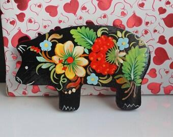 Folk art Ukrainian Hand painted wooden fridge magnet pig souvenir gift Petrykivka Painting original