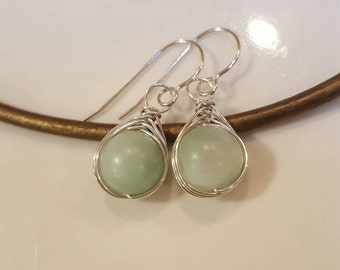 Amazonite Wire Wrapped Earrings Handcrafted in Sterling Silver
