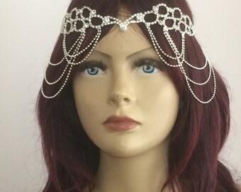 Crystal Bridal Headpiece, Bridesmaid Headpiece, Silver Wedding Hair Piece, Wedding Accessories