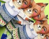 Folk Art Fox Paper Doll - Articulated Paper Art Doll