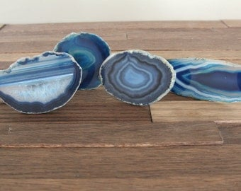 Agate Slice Drawer Pulls / MULTIPLE Colors Agate Cabinet Knobs / Drawer Knobs / Blue / Natural / Teal