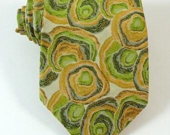 Vintage 1970s Wide Tie Necktie Green Gold Geometric BOLD
