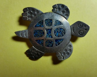 Sterling & Turquoise Turtle Brooch