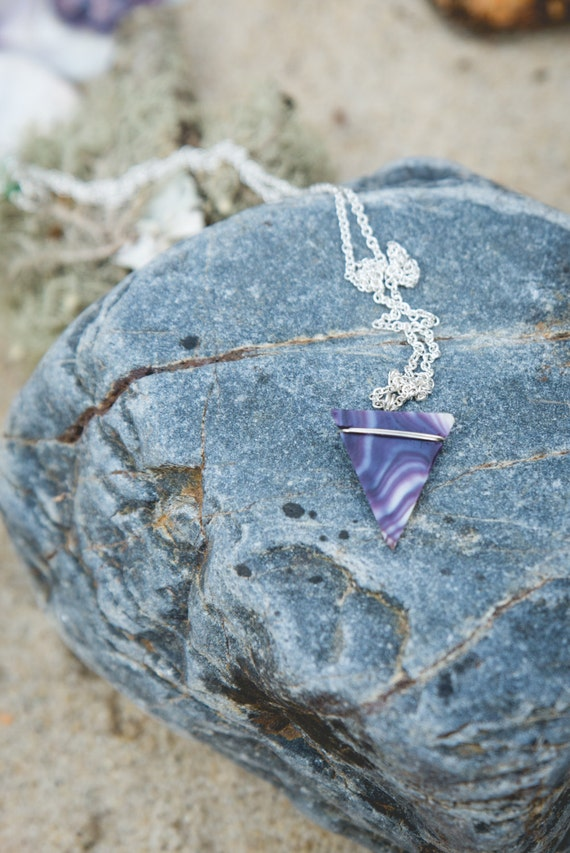 "wampum triangle necklace on sterling silver chain 18"" handmade on martha's vineyard"