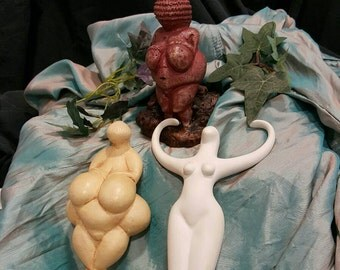 Goddess Statues    Pagan Statuettes  Willendorf  Nathor  Lespugue  Earth Goddess  Vintage Figurines  Reproductions  Wiccan Gift   lot of 3