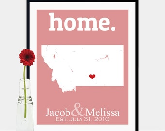 Anniversary Gift For Him, Montana Decor Wall, 62nd Anniversary Gift, Birthday Gift For Friend, Big Sky Montana Map - Any State Or Country
